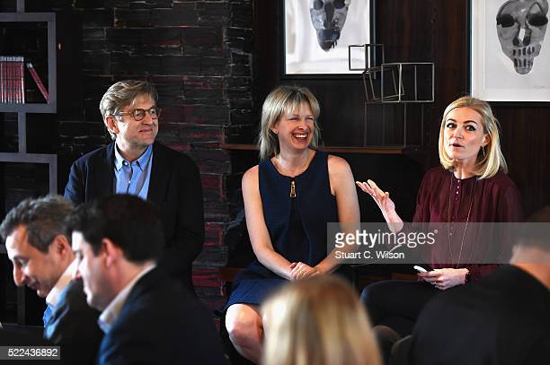 Keith Weed Allie Kline and Ruth Mortimer attend Advertising Week Europe Academy during Advertising Week Europe 2016 at Fortnum Mason on April 19 2016...