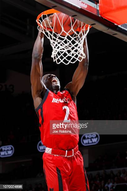Keith Williams of the Cincinnati Bearcats dunks in the first half of the game against the Xavier Musketeers at Fifth Third Arena on December 8, 2018...
