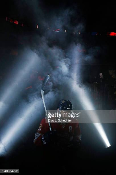 Keith Yandle of the Florida Panthers heads out to the ice for introductions prior to the start of the game against the Boston Bruins at the BBT...