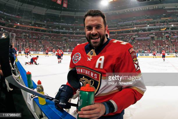 Keith Yandle of the Florida Panthers is all smiles during warm ups prior to the starting in his 900th game against the Boston Bruins at the BBT...