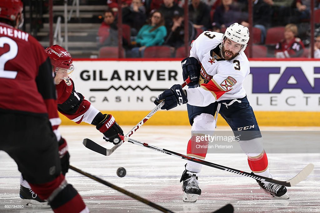 Keith Yandle #3 of the Florida Panthers passes the puck during the third period of the NHL game against the Arizona Coyotes at Gila River Arena on January 23, 2017 in Glendale, Arizona. The Coyotes defeated the Panthers 3-2 in overtime.