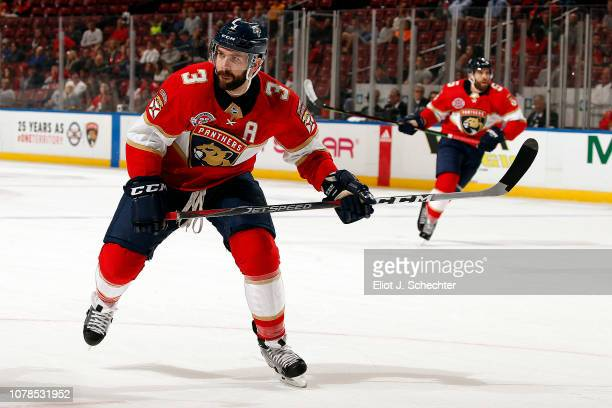Keith Yandle of the Florida Panthers skates for position against the Colorado Avalanche at the BBT Center on December 6 2018 in Sunrise Florida