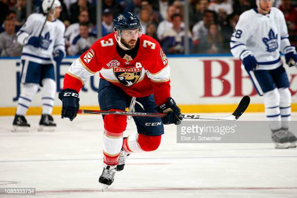 Keith Yandle of the Florida Panthers skates for position against the Toronto Maple Leafs at the BBT Center on December 15 2018 in Sunrise Florida