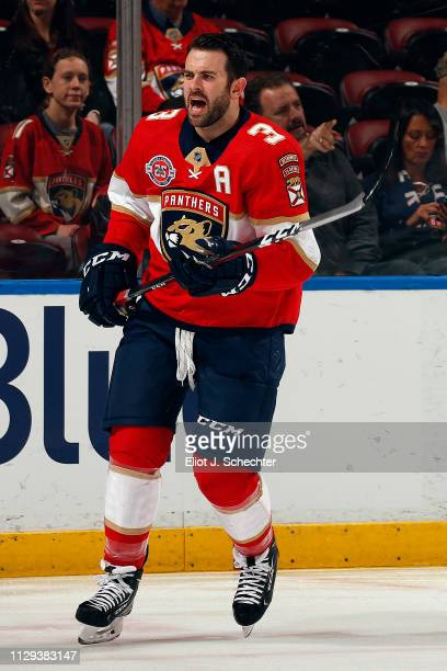 Keith Yandle of the Florida Panthers skates on the ice during warm ups prior to the start of the game against the Dallas Stars at the BBT Center on...