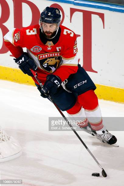 Keith Yandle of the Florida Panthers skates with the puck against the Ottawa Senators at the BBT Center on November 11 2018 in Sunrise Florida