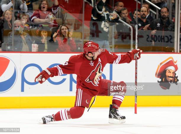 Keith Yandle of the Phoenix Coyotes celebrates after scoring against the Anaheim Ducks on November 27 2010 at Jobingcom Arena in Glendale Arizona