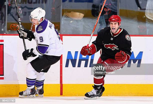 Keith Yandle of the Phoenix Coyotes celebrates after scoring the go ahead goal against Oscar Moller and the Los Angeles Kings during the third period...