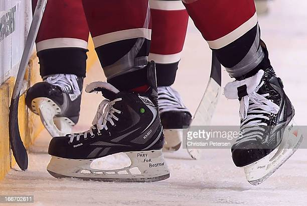 Keith Yandle of the Phoenix Coyotes has the words Pray For Boston written on the side of his skates in honor of the Boston Marathon explosions during...