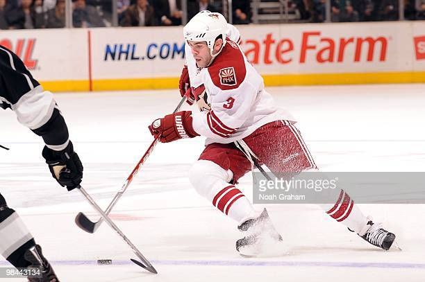 Keith Yandle of the Phoenix Coyotes skates with the puck against the Los Angeles Kings on April 8 2010 at Staples Center in Los Angeles California