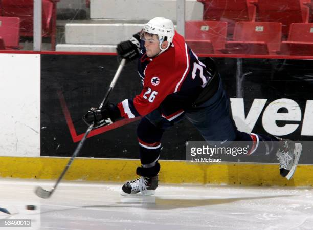Keith Yandle of the United States shoots against Finland during USA Hockey's Junior Men's Summer Challenge on August 12, 2005 at the Olympic Center...