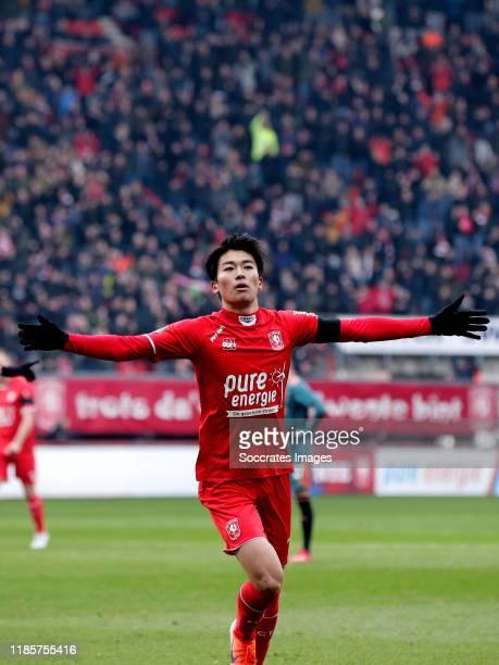 Keito Nakamura of FC Twente celebrates 10 during the Dutch Eredivisie match between Fc Twente v Ajax at the De Grolsch Veste on December 1 2019 in...