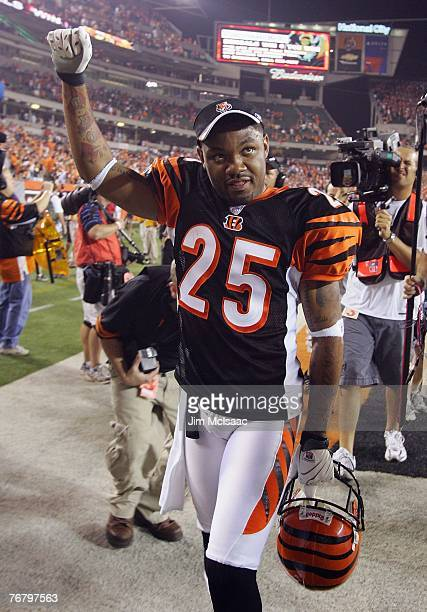 Keiwan Ratliff of the Cincinnati Bengals celebrates after defeating the Baltimore Ravens during their season opening game on September 10, 2007 at...