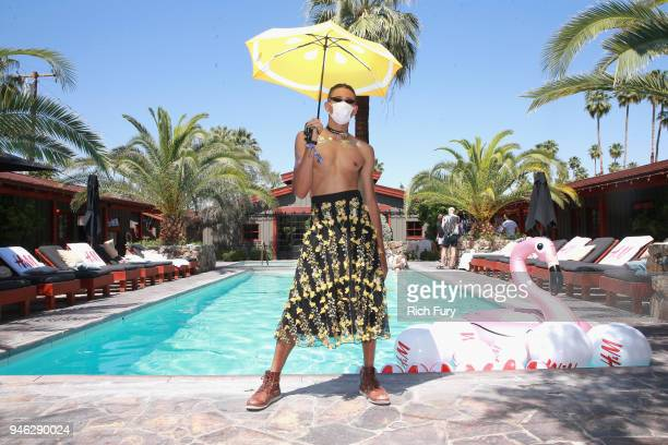Keiynan Lonsdale poolside with H&M at The Sparrows Lodge on April 14, 2018 in Palm Springs, California.