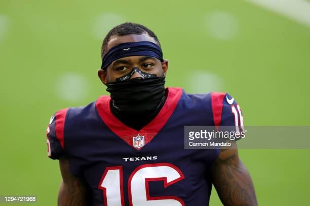 Keke Coutee of the Houston Texans looks on against the Tennessee Titans during a game at NRG Stadium on January 03, 2021 in Houston, Texas.