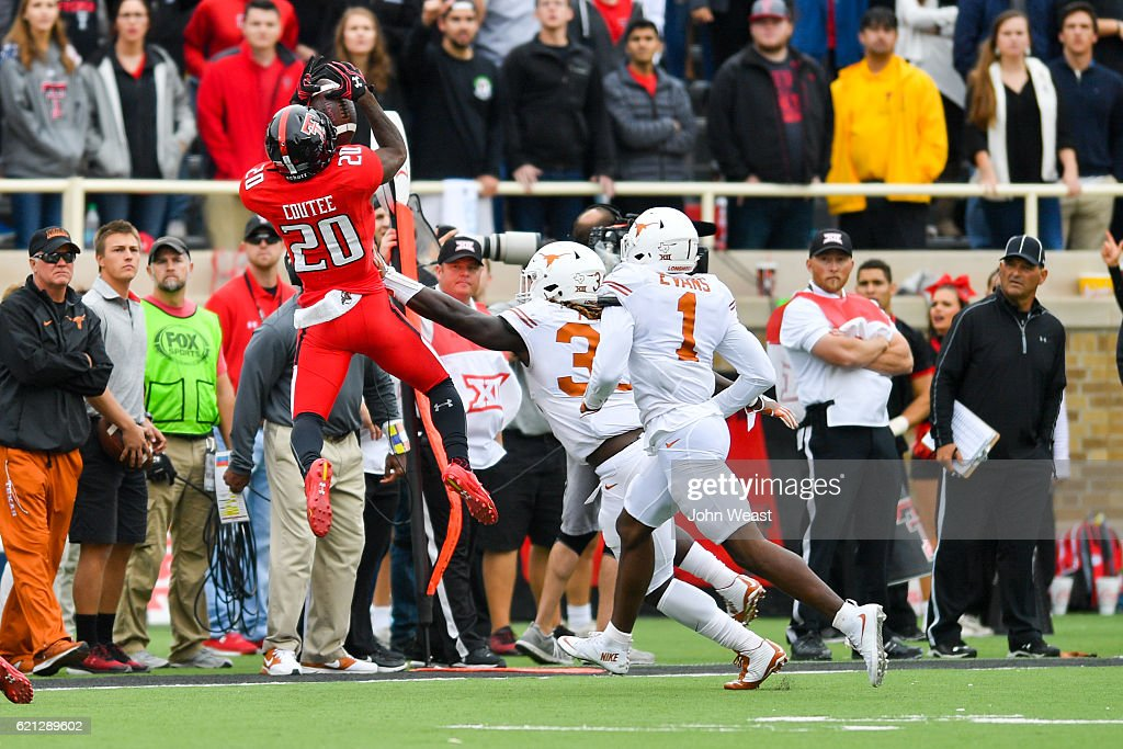 Keke Coutee #20 of the Texas Tech Red Raiders makes a leaping catch during the game against the Texas Longhorns on November 5, 2016 at AT&T Jones Stadium in Lubbock, Texas. Texas defeated Texas Tech 45-37.