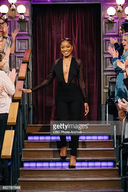 Keke Palmer and Drew Carey chat with James Corden during The Late Late Show with James Corden Tuesday January 24 2017 On The CBS Television Network