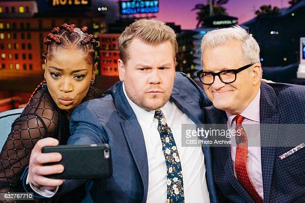 Keke Palmer and Drew Carey chat with James Corden during 'The Late Late Show with James Corden' Tuesday January 24 2017 On The CBS Television Network