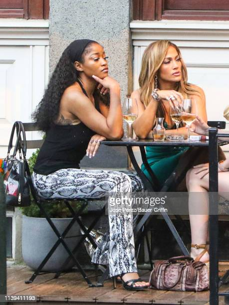 Keke Palmer and Jennifer Lopez are seen on the film set of 'Hustlers' on April 25 2019 in New York City