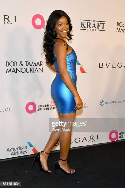 Keke Palmer attends the Elton John AIDS Foundation's Annual Fall Gala with Cocktails By Clase Azul Tequila at Cathedral of St John the Divine on...