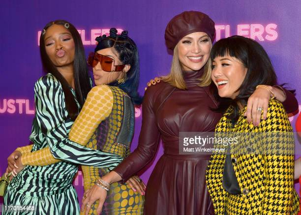 Keke Palmer Cardi B Jennifer Lopez and Constance Wu attend STX Entertainment's Hustlers Photo Call at Four Seasons Los Angeles at Beverly Hills on...