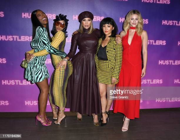 Keke Palmer Cardi B Jennifer Lopez Constance Wu and Lili Reinhart pose at the Photo Call For STX Entertainment's Hustlers at Four Seasons Los Angeles...