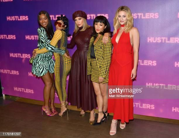 Keke Palmer Cardi B Jennifer Lopez Constance Wu and Lili Reinhart attend STX Entertainment's Hustlers Photo Call at Four Seasons Los Angeles at...