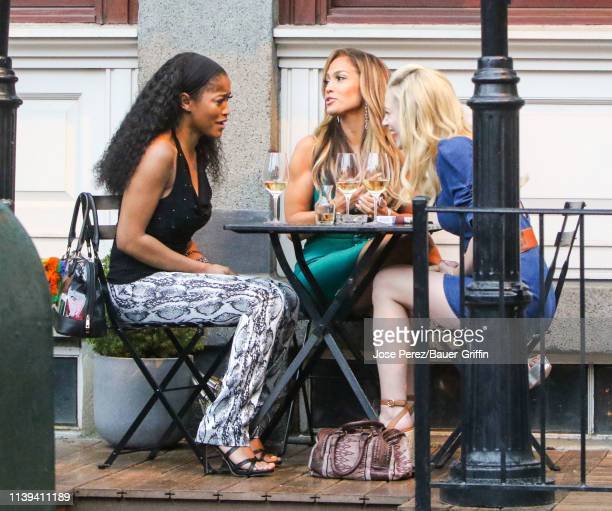 Keke Palmer Jennifer Lopez and Lili Reinhart are seen on the film set of 'Hustlers' on April 25 2019 in New York City