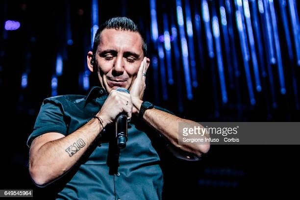 Kekko Silvestre of Italian pop band Modà performs on stage on March 7 2017 in Milan Italy