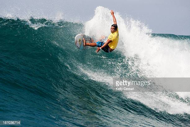 Kekoa Bacalso of Hawaii surfs enroute to advancing to Round 2 of the VANS World Cup of Surfing after winning his Round 1 heat on November 27 2012 in...