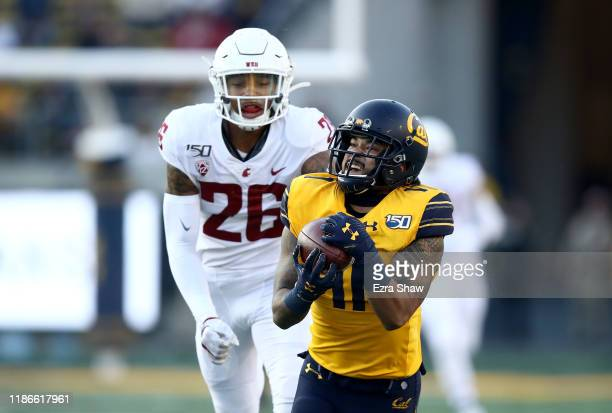 Kekoa Crawford of the California Golden Bears makes a catch while covered by Bryce Beekman of the Washington State Cougars at California Memorial...