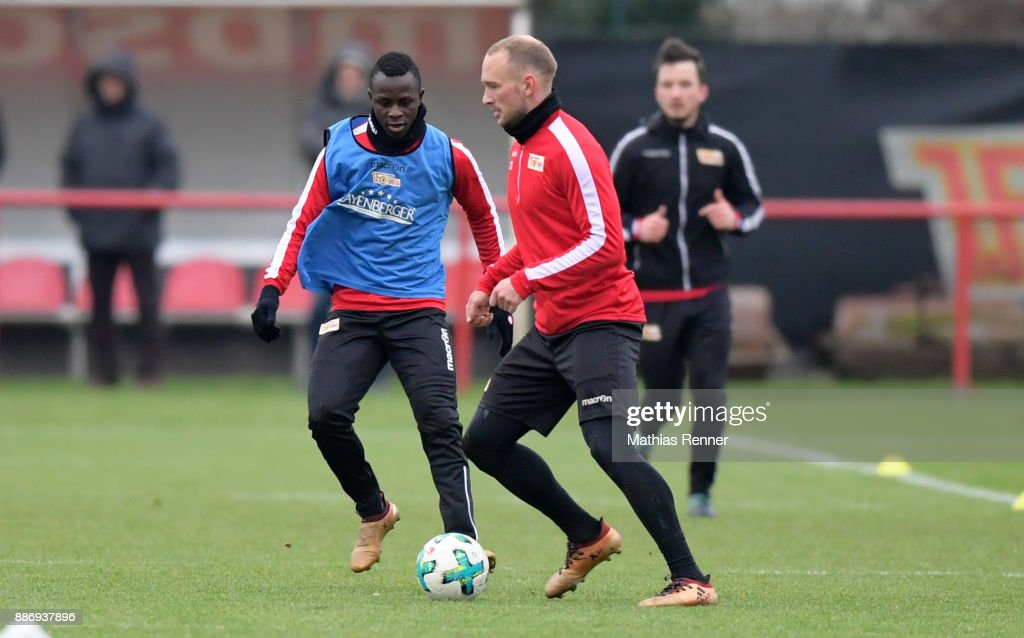 Kekuta Manneh and Toni Leistner of 1 FC Union Berlin during the training session on December 6, 2017 in Berlin, Germany.