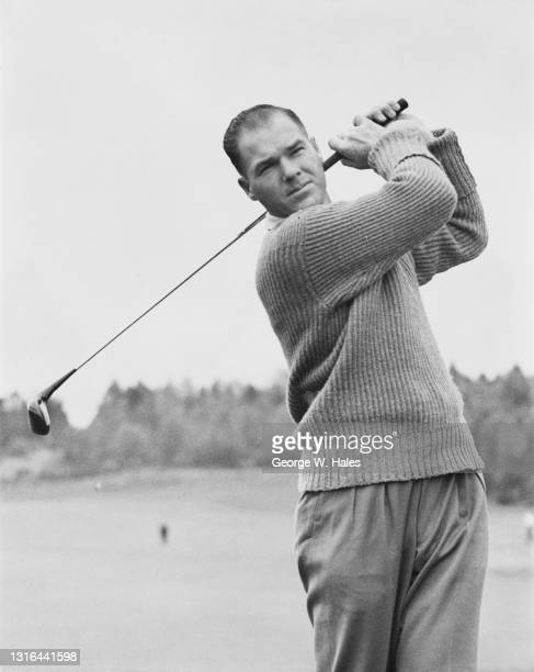 Kel Nagle of Australia watches his drive off the tee during the Daks £2,000 Golf Tournament on 16th May 1951 at the Sunningdale Golf Club in...