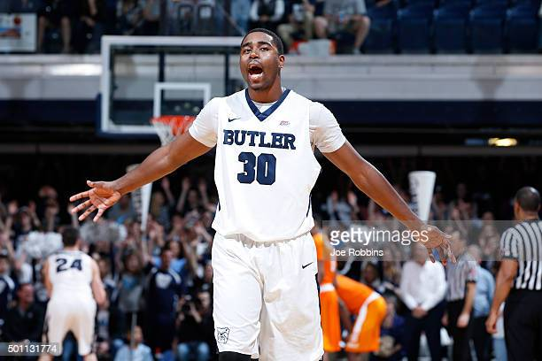 Kelan Martin of the Butler Bulldogs celebrates against the Tennessee Volunteers in the closing minute of the game at Hinkle Fieldhouse on December 12...