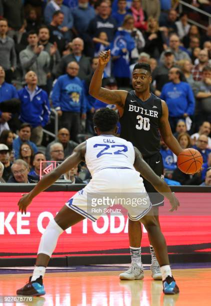Kelan Martin of the Butler Bulldogs in action against Myles Cale the Seton Hall Pirates during a game at Prudential Center on March 3 2018 in Newark...