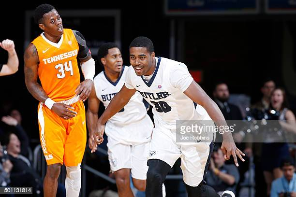 Kelan Martin of the Butler Bulldogs reacts after making a three-pointer against the Tennessee Volunteers in the second half of the game at Hinkle...