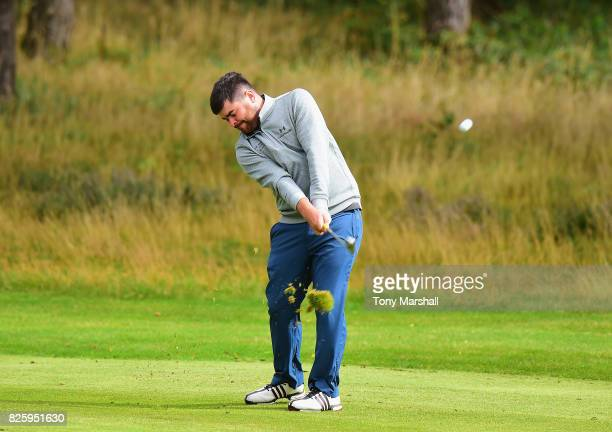 Kelan McDonagh of GUI National Academy plays his second shot on the 1st fairway during Day Two of the Galvin Green PGA Assistants' Championship at...