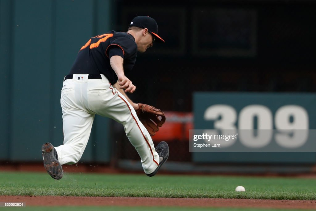 Kelby Tomlinson (37) of the San Francisco Giants chases after the ball during the second inning against the Philadelphia Phillies at AT&T Park on August 19, 2017 in San Francisco, California.