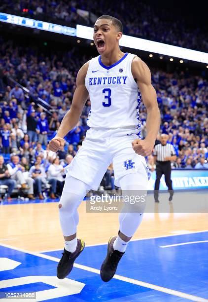 Keldon Johnson of Kentucky Wildcats celebrates against the Southern Illinois Saluki at Rupp Arena on November 9 2018 in Lexington Kentucky