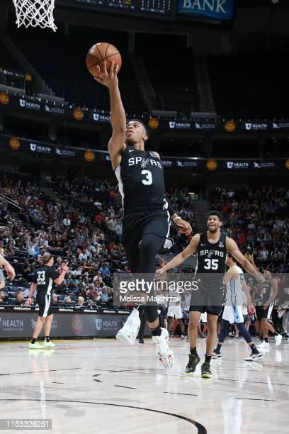 Keldon Johnson of San Antonio Spurs goes to the basket against the Memphis Grizzlies on July 2 2019 at vivintSmartHome Arena in Salt Lake City Utah...