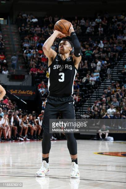 Keldon Johnson of San Antonio Spurs shoots a freethrow against the Memphis Grizzlies on July 2 2019 at vivintSmartHome Arena in Salt Lake City Utah...