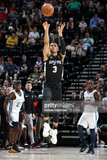 Keldon Johnson of San Antonio Spurs shoots the ball from halfcourt against the Memphis Grizzlies on July 2 2019 at vivintSmartHome Arena in Salt Lake...