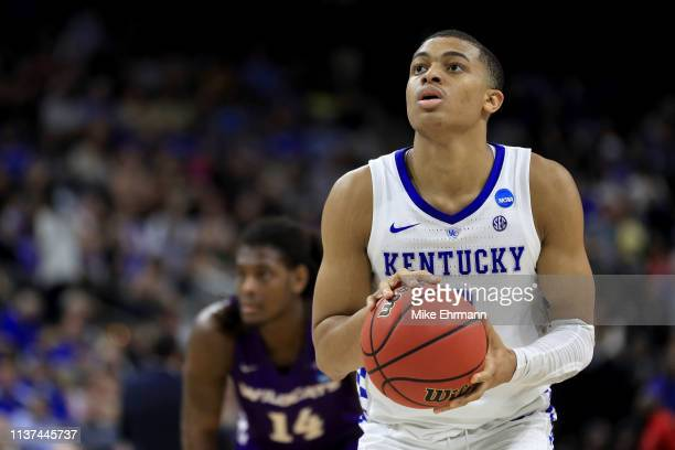 Keldon Johnson of the Kentucky Wildcats attempts a free throw in the second half against the Abilene Christian Wildcats during the first round of the...