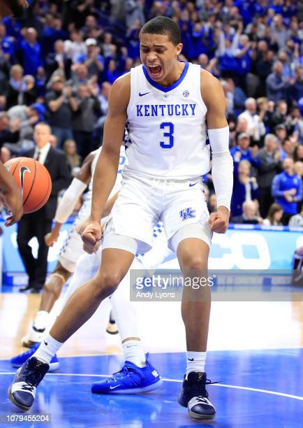 Keldon Johnson of the Kentucky Wildcats celebrates during the game against the Texas AM Aggies at Rupp Arena on January 8 2019 in Lexington Kentucky