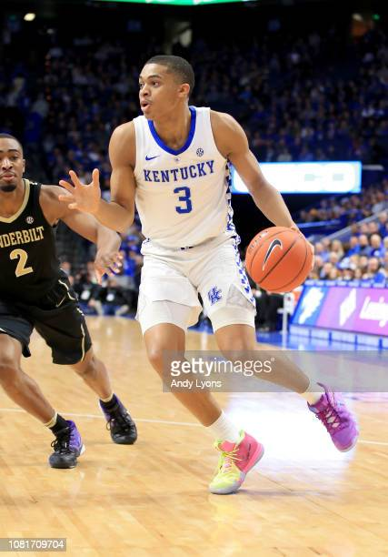 Keldon Johnson of the Kentucky Wildcats dribbles the ball against the Vanderbilt Commodores at Rupp Arena on January 12 2019 in Lexington Kentucky