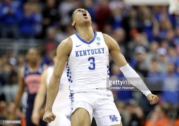 Keldon Johnson of the Kentucky Wildcats reacts against the Auburn Tigers during the 2019 NCAA Basketball Tournament Midwest Regional at Sprint Center...