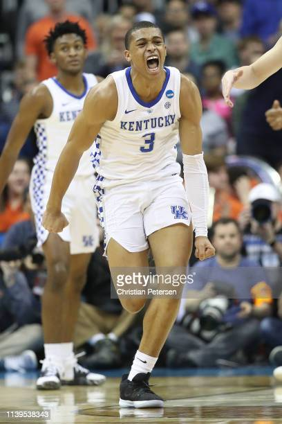 Keldon Johnson of the Kentucky Wildcats reacts to a play against the Auburn Tigers during the 2019 NCAA Basketball Tournament Midwest Regional at...