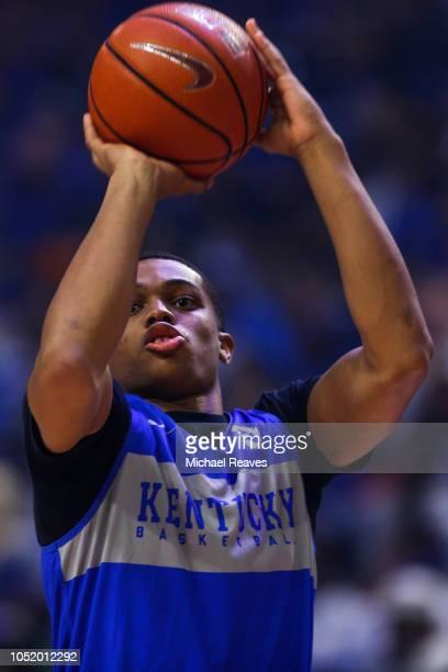 Keldon Johnson of the Kentucky Wildcats shoots during Big Blue Madness at Rupp Arena on October 12 2018 in Lexington Kentucky