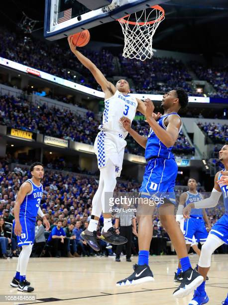Keldon Johnson of the Kentucky Wildcats shoots the ball against the Duke Blue Devils during the State Farm Champions Classic at Bankers Life...