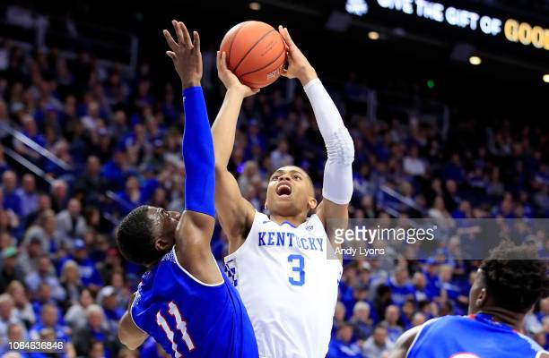 Keldon Johnson of the Kentucky Wildcats shoots the ball against the Tennessee State Tigers at Rupp Arena on November 23 2018 in Lexington Kentucky