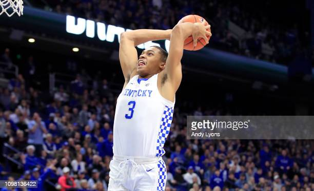 Keldon Johnson of the Kentucky Wildcats shoots the ball against the Mississippi State Bulldogs at Rupp Arena on January 22 2019 in Lexington Kentucky